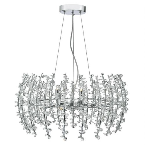 Sestina 6 Light Pendant Polished Chrome complete with Crystal Beads